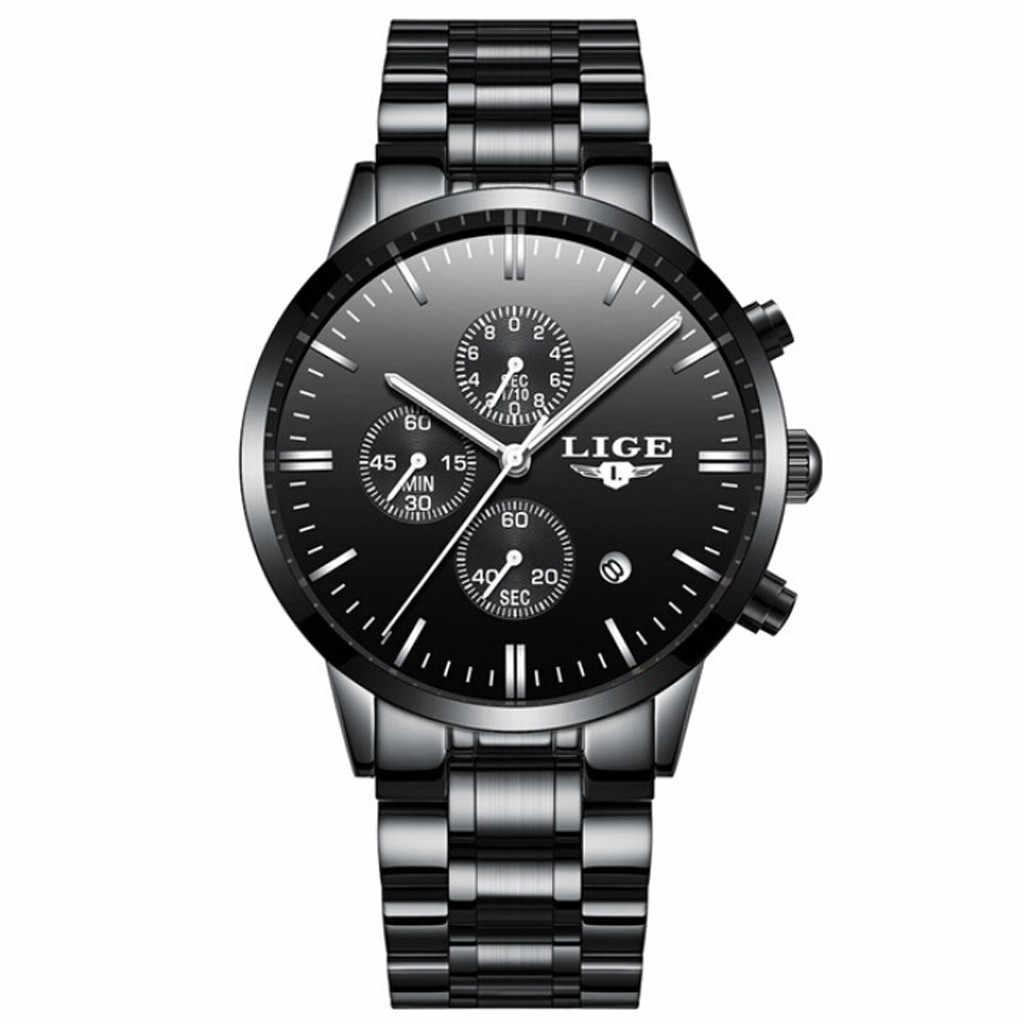 Sanwony הכרונוגרף עסקים קוורץ שעון תאריך לוח שנה erkek kol saati יד רשת רצועת relojes para hombre mens שעונים
