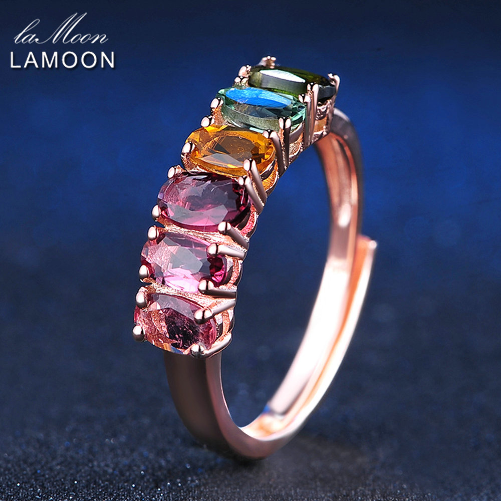 LAMOON Multi-color Tourmaline Rings For Women 100% Real Natural Gemstone 1.5ct 925 Sterling Silver Party Ring Fine Jewelry RI005