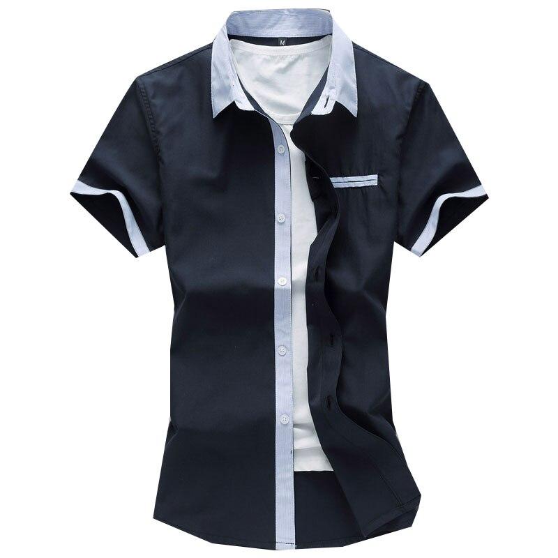 Plus size 7xl mens shirts casual fashion 2016 summer short for Mens coral short sleeve dress shirt