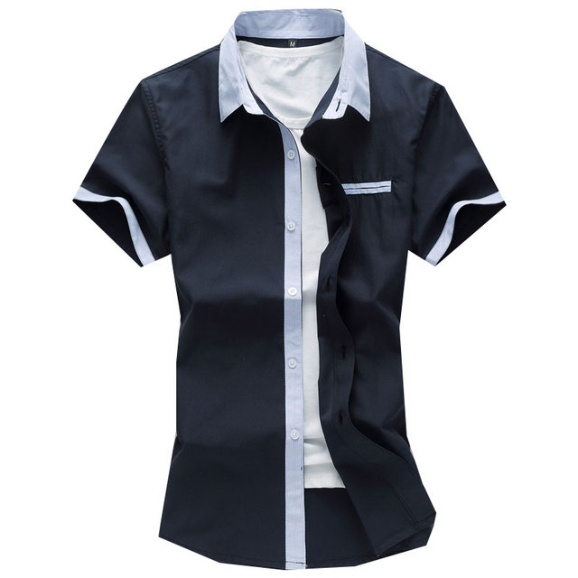 plus size 7xl mens shirts casual fashion 2016 summer short sleeve mens dress shirts pocket good quality social shirt