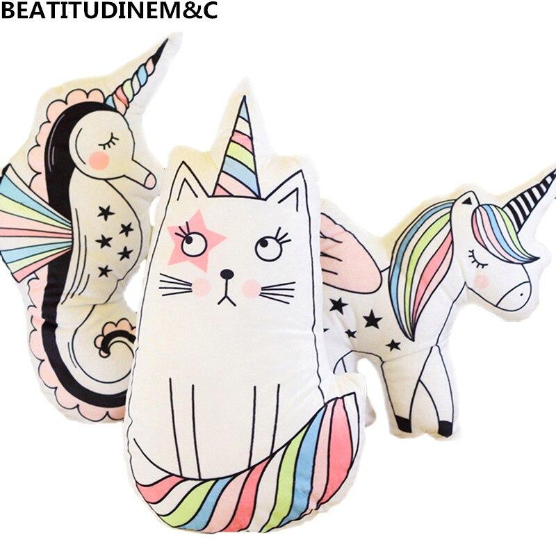 Cute New Unicorn Pillow, Cat Pillow, Hippopotamus Pillow Cushions, Animal Plush Toys, Children Bedroom Decoration, Children Toys