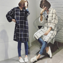 5xl plus big size blusas feminina 2017 new korean spring summer autumn women plaid long sleeve loose thin shirts female Y0406
