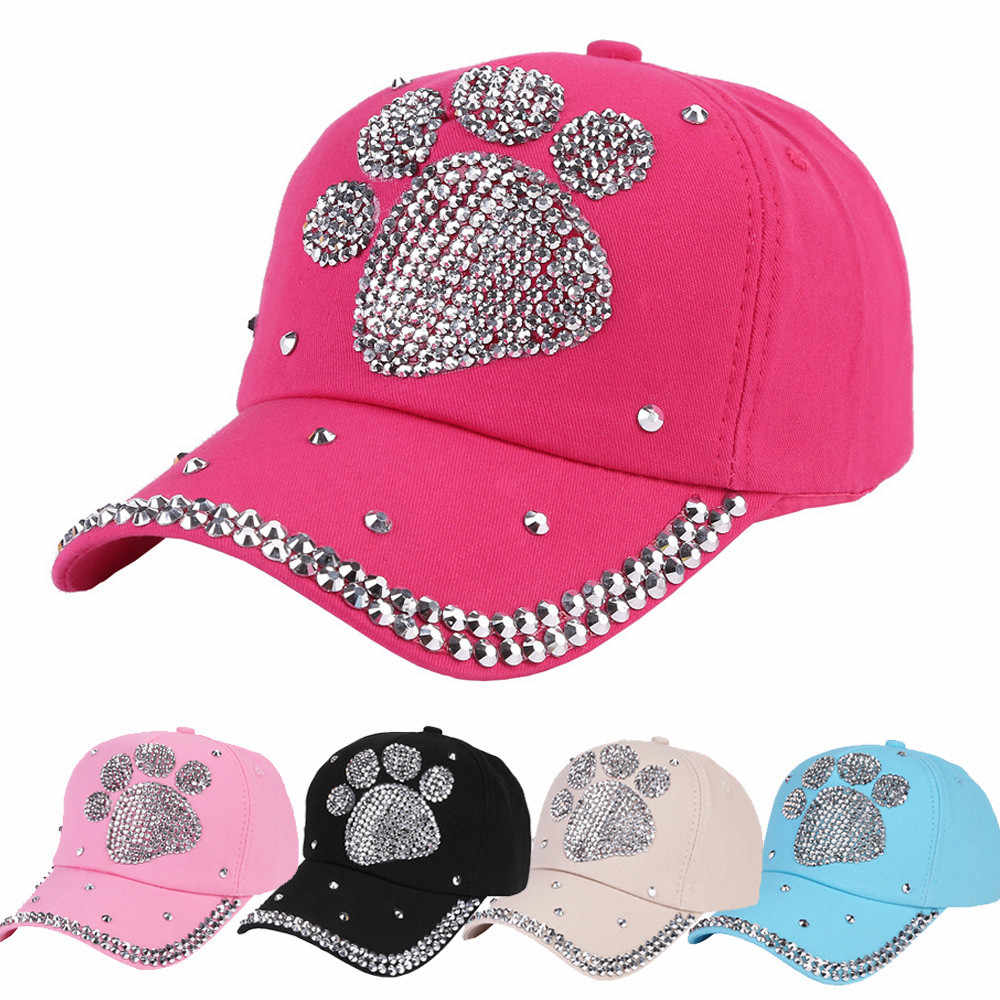 d3d02346e979f FEITONG New Fashion Baseball Cap Rhinestone Paw Shaped Boy Girls Snapback  Hat 2017 new solid wool