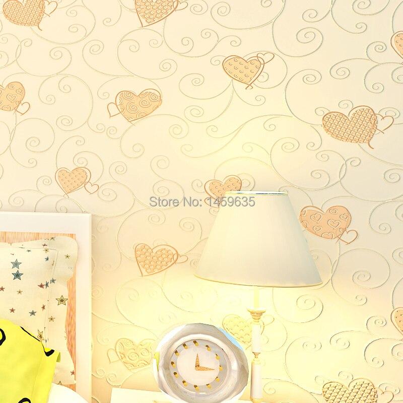 3D rose amour coeur dessin animé princesse fille chambre fond papier peint rouleau 3D en relief flocage Non tissé enfants revêtement mural papier