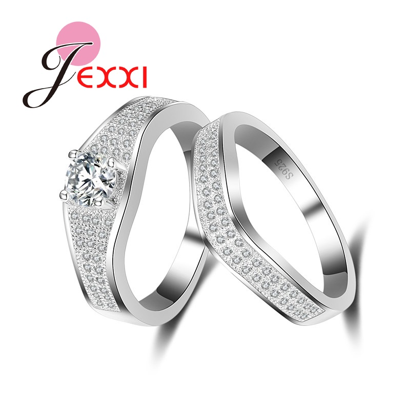Patico натуральная серебряные кольца пара комплект Для женщин Для мужчин свадебные Обещание предложение Кольца Чистый Белый Австралийский го...
