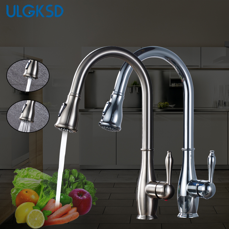 ULGKSD Kitchen Faucet Pull Out Sprayer Vessel Faucet Sink Faucets Hot and Cold Water Mixer Taps Para Kitchen ulgksd kitchen faucets pull out ledsprayer vessel sink faucets 360 swivel cold and hot water kitchen mixer tap