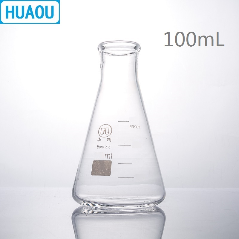 HUAOU 100mL Erlenmeyer Flask Borosilicate 3.3 Glass Narrow Neck Conical Triangle Flask Laboratory Chemistry Equipment