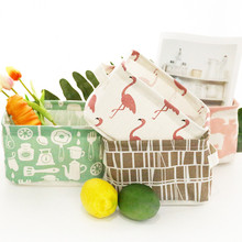 Cotton and linen storage basket with handle sundries toys bathroom desktop cosmetics flamingo box