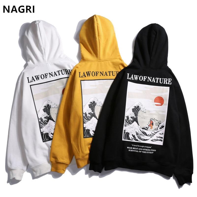 Japanese hoodies men Embroidery Funny Cat Wave harajuku Printed fleece hip hop streetwear winter sport brand hoodies sweatshirts law of nature hoodie