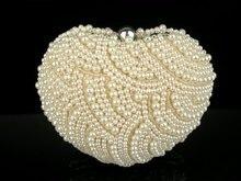 8596 HERZ Champagner PERLE Perlen handgefertigte Hochzeit geldbörse Party clutch bag handtasche IN KOSTENLOSER VERSAND