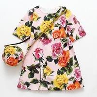 Flower Girl Dresses With Bag 2017 Brand Princess Dress Kids Clothes Half Sleeve Robe Fillette Toddler