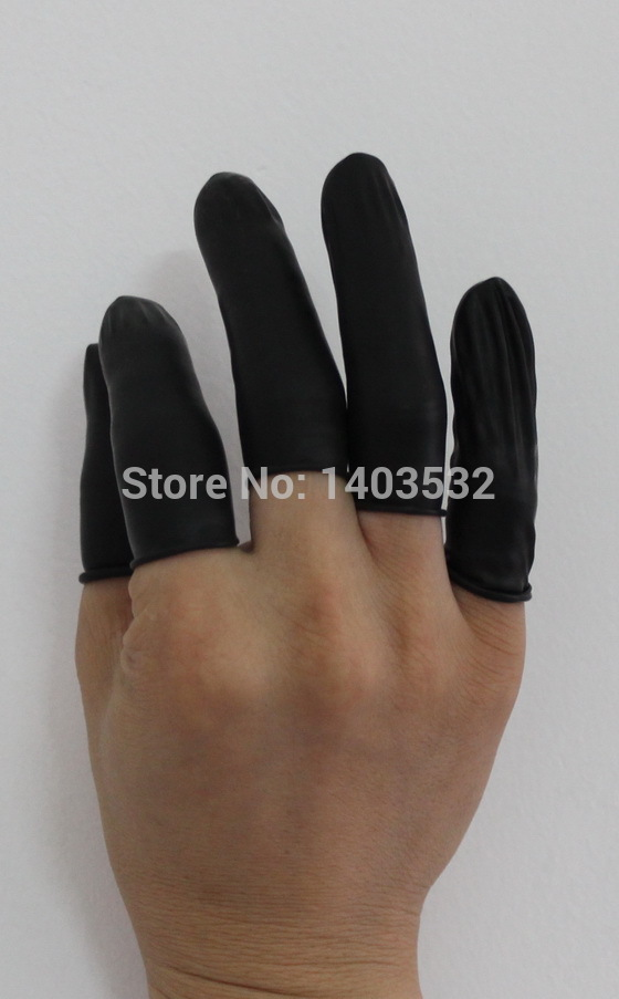 200pc pure natural latex powder-free Black finger cot Anti static cleanroom Protective Fingertip watch jewellery work gloves цена