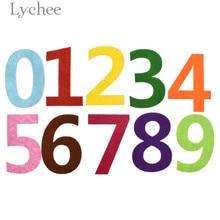 Lychee Life 10pcs Mixed Color Number Felt 0-9 Pattern Felt Material DIY Home Children