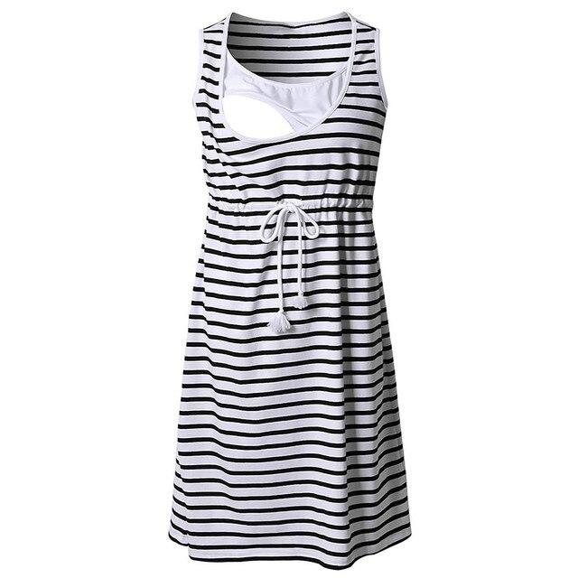 Women Pregnant Maternity  Stripe Tunic Breastfeeding Summer  Maternity Dress abiti premaman maternidad ropa vestido gravida 2019