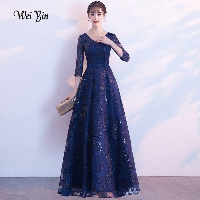 Weiyin 2019 חדש אלגנטי שחור ארוך ערב שמלות תחרה חצי שרוול חלוק דה Soiree ארוך Vestido דה Festa לונגו WY1407