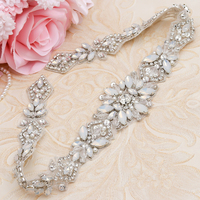 WENXI 5Pieces Bridal Gown Sash Rhinestones Appliques Hand Beaded Rose Gold Opal Crystal On For Wedding Dress Belt WX935