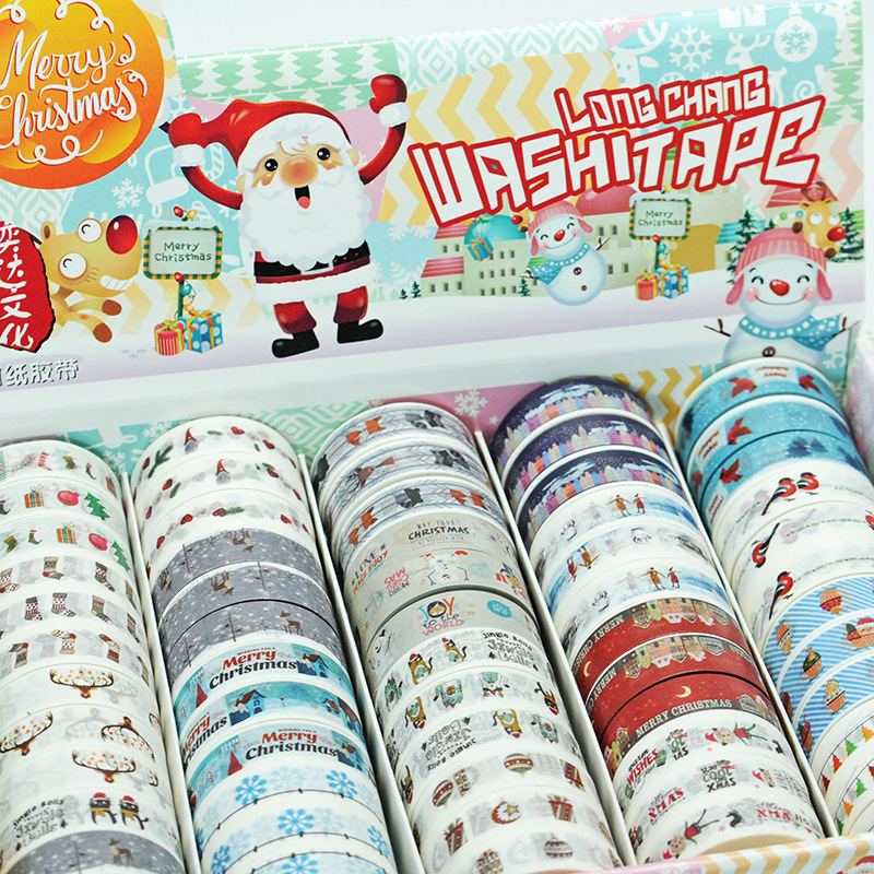 2017 New 1x Christmas Washi Tape Set 60Rolls Decorative Tape Masking Tape Cinta Adhesiva Christmas Deco Office Adhesive Tape 10M