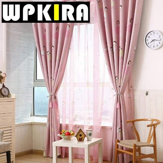Fashion Cute Princess Curtains For Girls Room Bedroom Cartoon Printed Pink  Curtain Panels Shade Curtain Drape