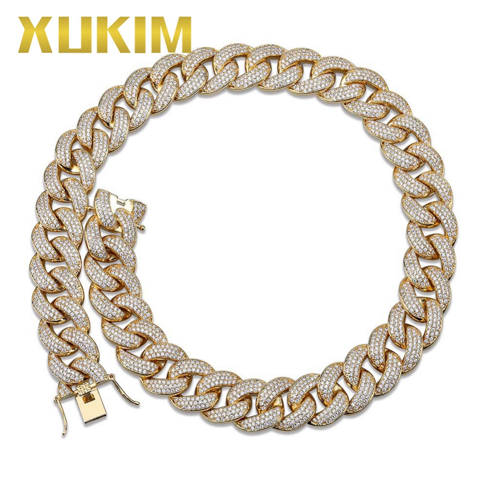 Xukim Jewelry 18mm Fat Miami Cuban Link Chain Full Iced Out Gold Silver Color Necklace Zirconia Hip Hop Jewelry Gift for Men