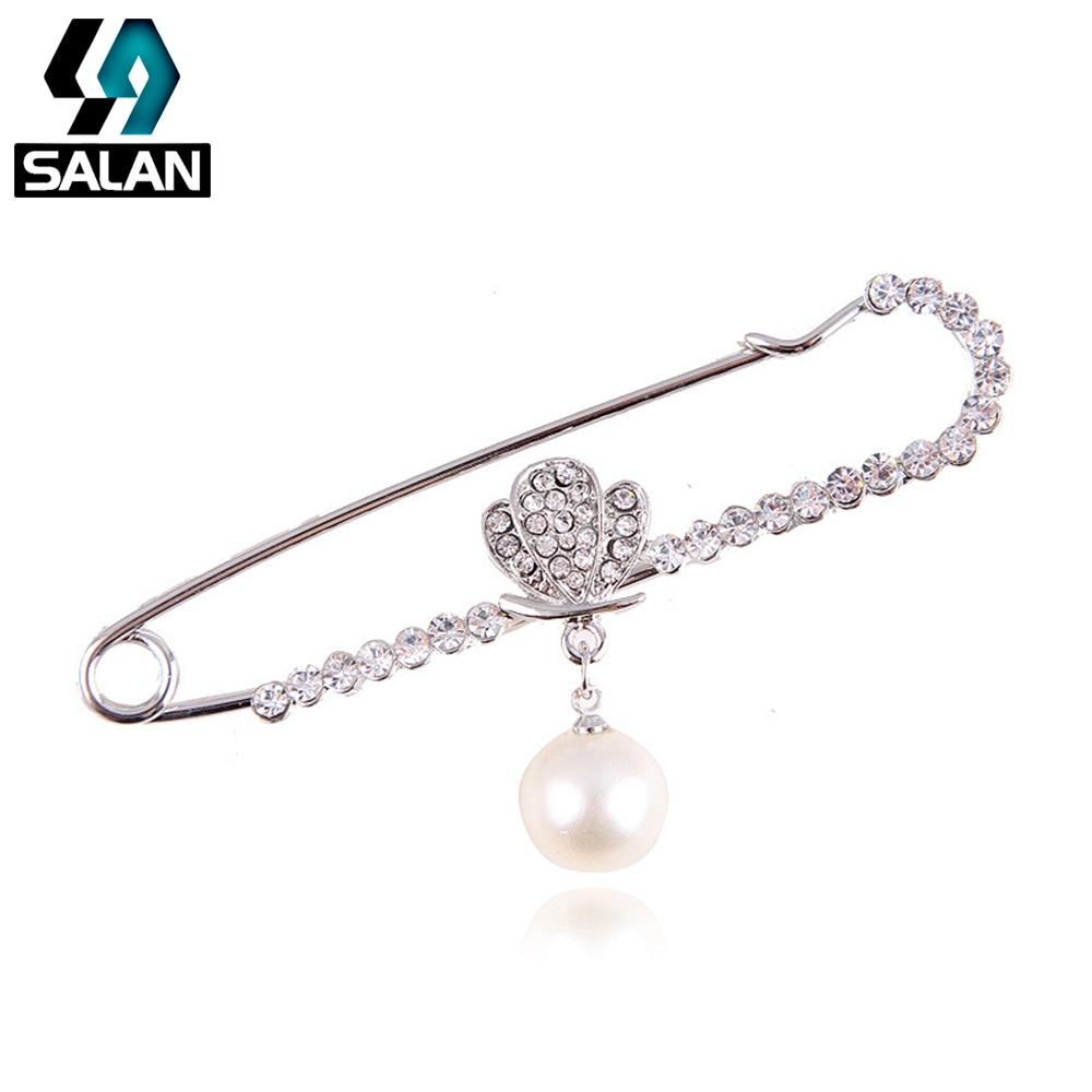 New Korean version of the retro shell pearl diamond brooch pin brooch scarf buckle garment shawl buckle