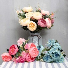 12 Heads Artificial Flowers Peony Vivid Flores Real Touch Fake Silk Flower Wedding Bridal Holding Wreath Bouquet Home Decoration