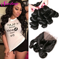 7A Peruvian Loose Wave With Closure 360 Lace Frontal Closure With Bundles Peruvian Virgin Hair Loose Wave With Frontal Closure