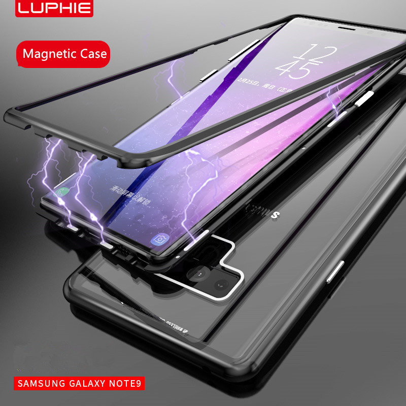 LUPHIE for samsung note 9 case Magnetic Adsorption Metal Bumper+Tempered Glass Back Cover Case For Samsung Galaxy Note 8 note9