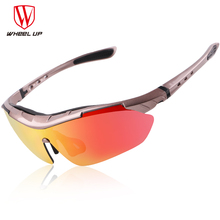 WHEEL UP UV400 Coating Cycling Sunglasses Waterproof Anti-slip Polarized Men Cycling Eyewear Mountain Road Cycling Glasses 3Lens