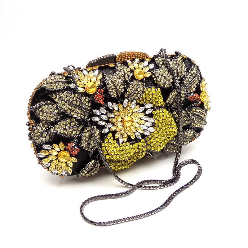 Elegant clutches women evening party bag diamonds crystal clutch luxury bridal  wedding party wallet purses flower 6ef4eb976e14