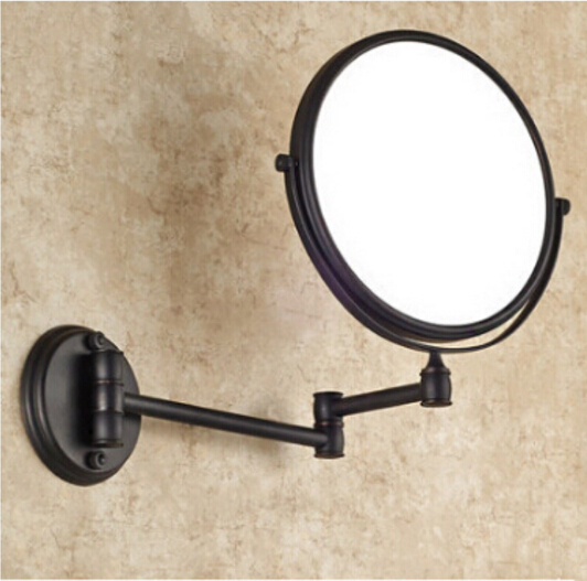 Aliexpress Buy Black Oil Bronze Antique Bathroom Makeup Mirrors 1x4 Magnifier Brass Cosmetic Mirror 2 Side Wall Mounted Bath BA From