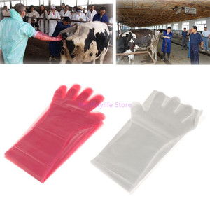 Image 1 - 50Pcs/set Disposable Gloves Soft Plastic Long Arm Veterinary Exam Hand Protection Tool For Farm Animal C42
