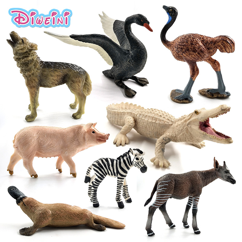 Ostrich Meerkat Okapi Swan Wolf Crocodile Platypus Deer Pig Animal Model Figure Figurine Home Decor Decoration Accessories Toys