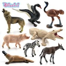 Ostrich Meerkat Okapi Swan Wolf Crocodile Platypus Deer Pig animal model figure figurine home decor decoration accessories toys