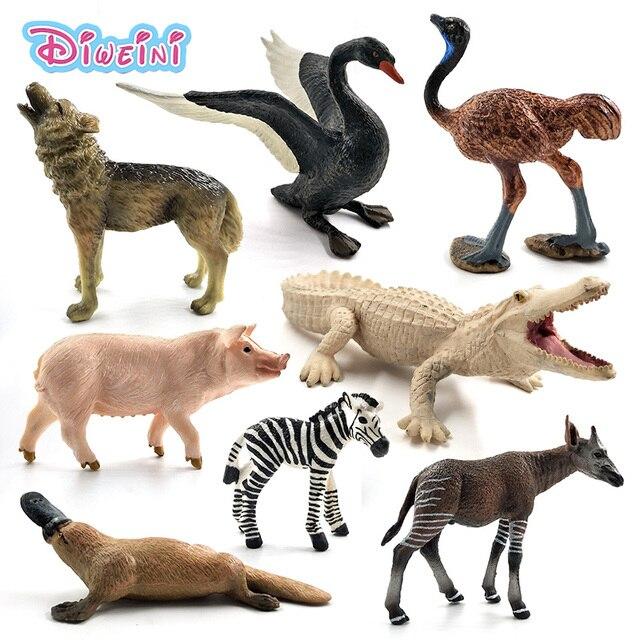 Đà điểu Meerkat Okapi Thiên Nga Wolf Cá Sấu Thú Mỏ Vịt Hươu Pig mô hình động vật hình bức tượng trang trí nội thất trang trí phụ kiện đồ chơi