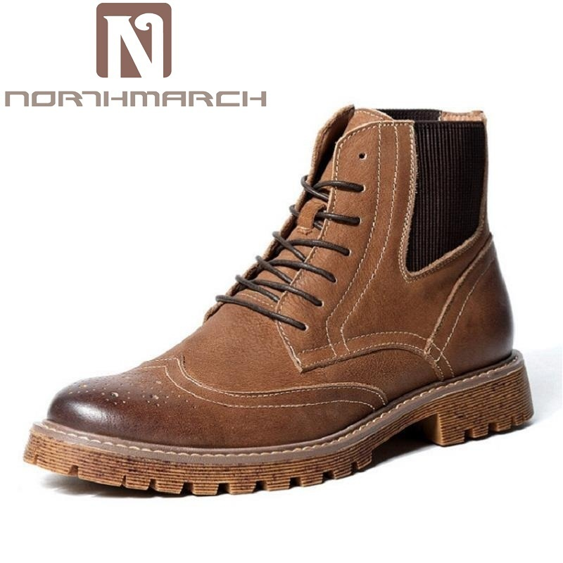 NORTHMARCH Martin Boots Fashion Bullock Carved Lace Up Winter Men Shoes Retro Style Comfortable Male Boots Coturnos Masculino vikeduo brand fashion bullock carved design man s men shoes boot 100
