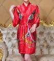 Al por mayor Y Al Por Menor de Las Mujeres belle Caftán de Seda Robe Gown Impresión Albornoz Kimono Ropa de Dormir Vestido Dropshipping Ml XL