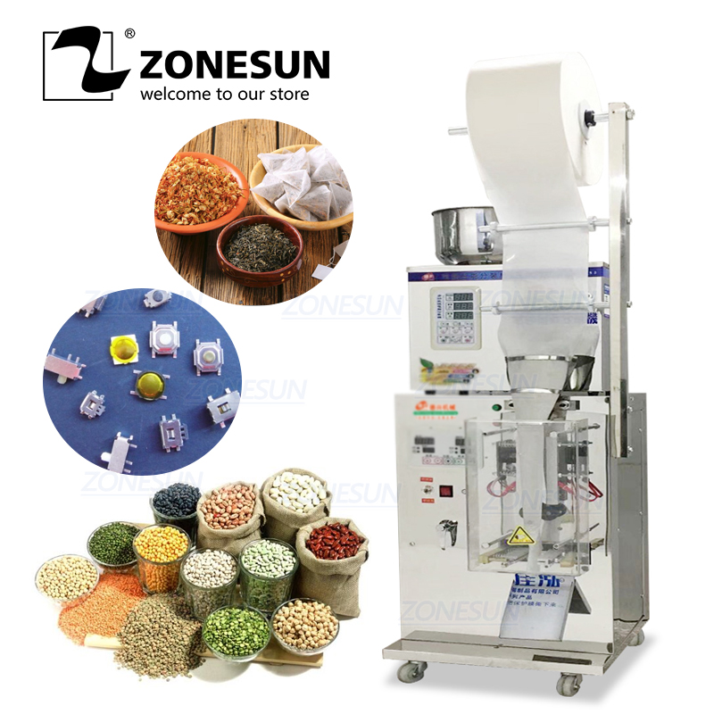 ZONESUN Automatic 2-50G Dry And Massive Power Filling Hardware Nut Automatic Powder Tea Surge Sealing Packing Racking Machine