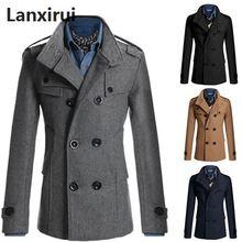 ミディアムロングトレンチコート男性オーバーコート冬のジャケットの男性ウインドブレーカー太い実線黒のトレンチコートの男性英国スタイルの衣装