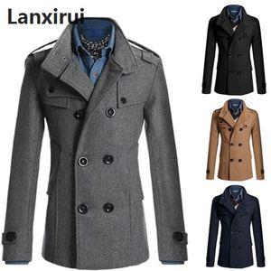 Image 1 - Średni długi płaszcz mężczyźni płaszcz kurtka zimowa mężczyźni wiatrówka gruby jednolity czarny trencz mężczyźni angielski styl kostium