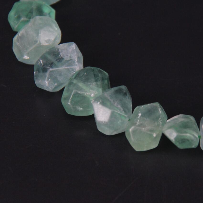 15 5 quot strand Fluorite Quartz Faceted Nugget Loose Beads Cut Natural Green Crystal Stone Nugget Pendants Charms Jewelry Making in Beads from Jewelry amp Accessories
