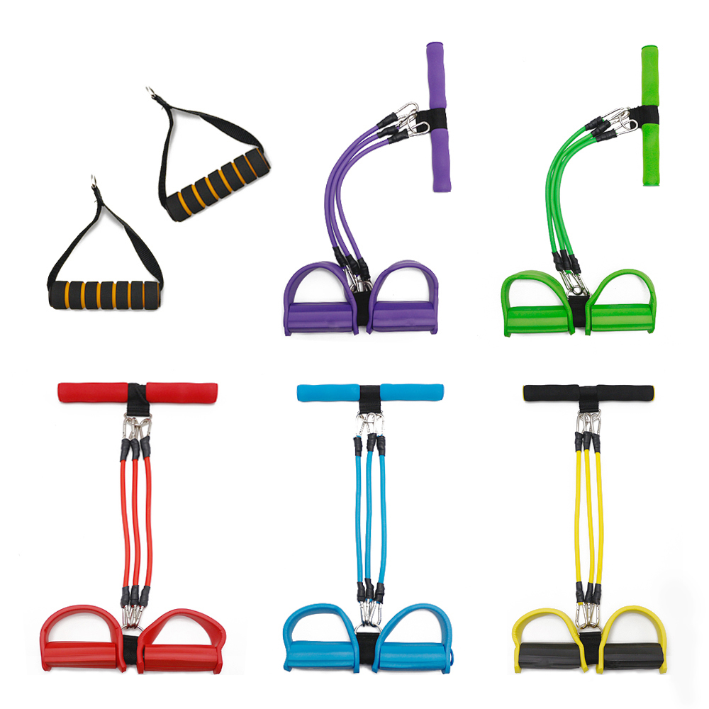 3 Tubes Fitness Elastic Sit Up Resistance Pull Rope Pedal Exerciser Sit ups Chest Developer Yoga Pilates Gym Fitness Equipment