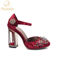 Phoentin crystal flower mary janes women pumps shoes strange high heels 10cm hook & loop handmade rhinestone wedding shoes FT028