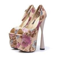 19 см супер женские туфли-лодочки на высоком каблуке с цветочным принтом Кожа Лодочки на платформе розовый пряжка Клубная нарядная обувь стр...