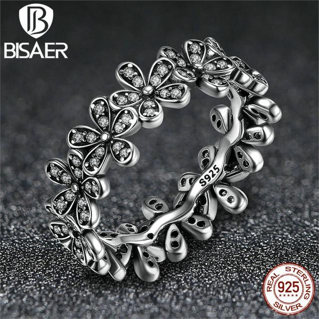 02fa21e93 925 Sterling Silver Flowers Finger Rings Dazzling Daisy Meadow Stackable  Ring For Women Compatible with Pandora Jewelry