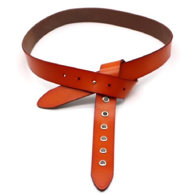 De cuero genuino hebilla-hebilla de cinturón ajustable para mujeres de lujo Casual arandela cinturones sin hebilla corsé cintura Correa vestido Jeans