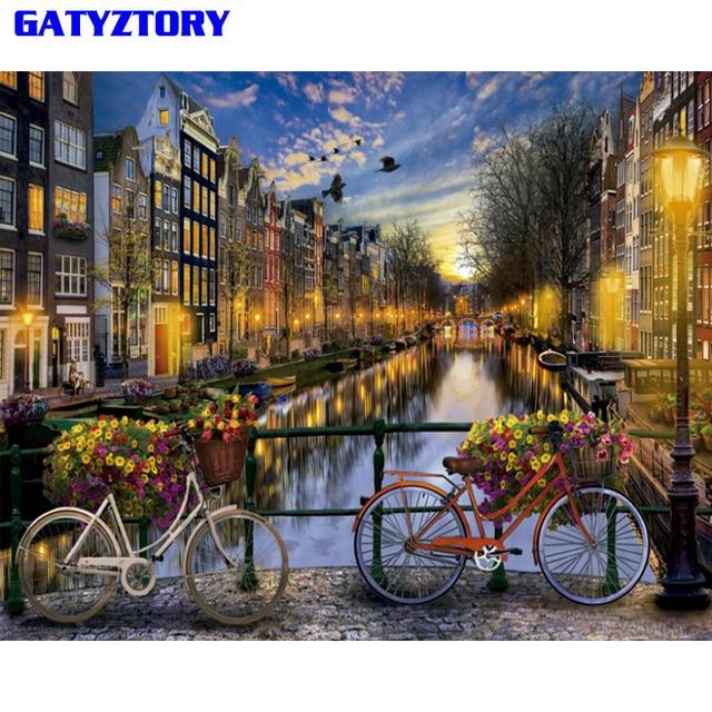 Gatyztory Rahmenlose Stadt Diy Malen Nach Zahlen Landschaft Vintage