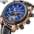 Los hombres WatchesLIGE de Tourbillon reloj mecánico automático de cuero de los hombres de gran Dial del deporte impermeable reloj hombre reloj Masculino