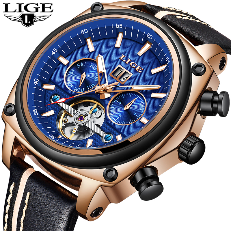 Men WatchesLIGE Fashion Tourbillon Automatic Mechanical Watch Men Leather Big Dial Waterproof Sport Watch Male Relogio Masculino