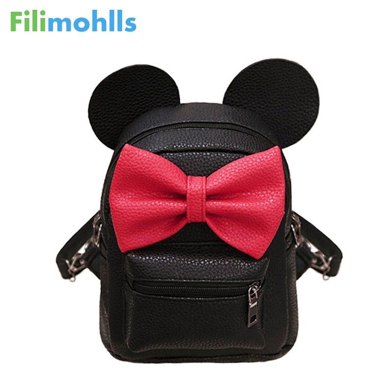 2018 New Mouse Shape Backpack Pu Leather Female Mini Bag Women's Backpack Sweet Bow Teen Girls Backpacks School Bag S1216