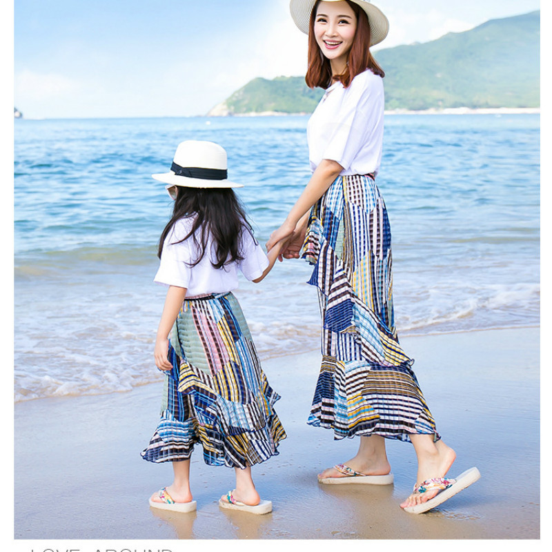 Family Matching Clothes Mother Daughter Dress T Shirt+Chiffon Skirt Beach Clothes Family Look Mom Daughter Clothing Sets CC745 family mother daughter matching dresses summer mother and daughter clothes family look mom and daughter dress clothes t shirt